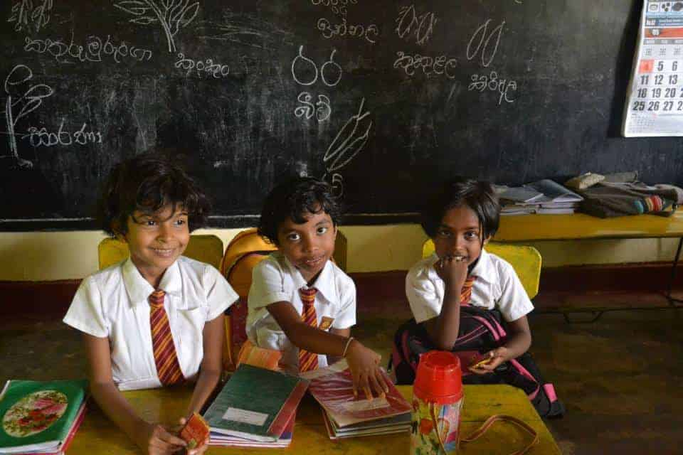 School kids with uniforms in Sri Lanka.