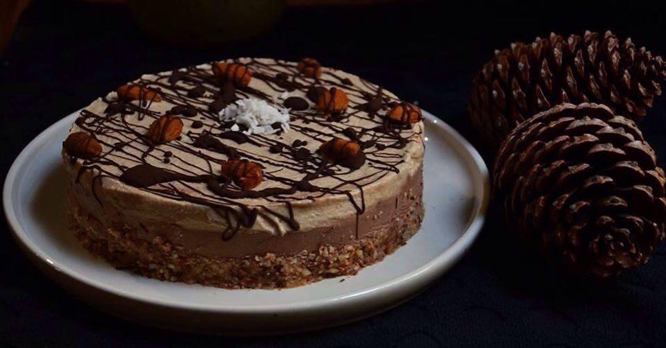 Τσίζκεικ Σοκολάτα / Καφέ - Βίγκαν, Χωρίς ψήσιμο. maninio.com #chocolatecheesecake #vegancheesecake