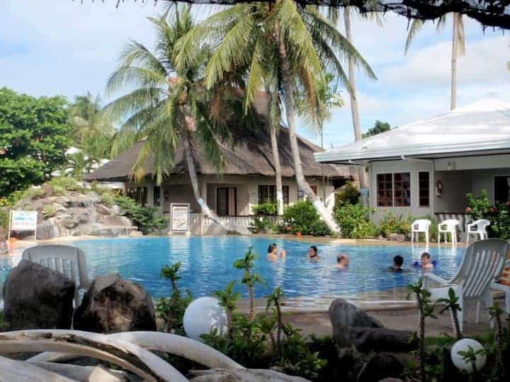 Paras beach resort swimming pool around coconut trees