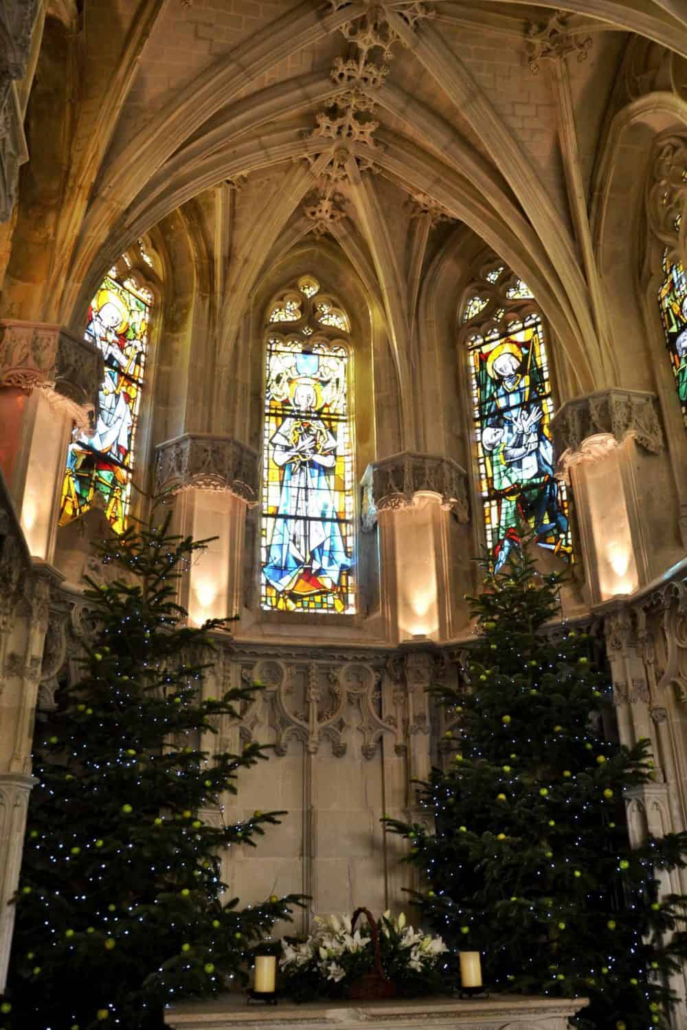 Inside the Leonardo Da Vinci grave in Chateaux Amboise with christmas trees