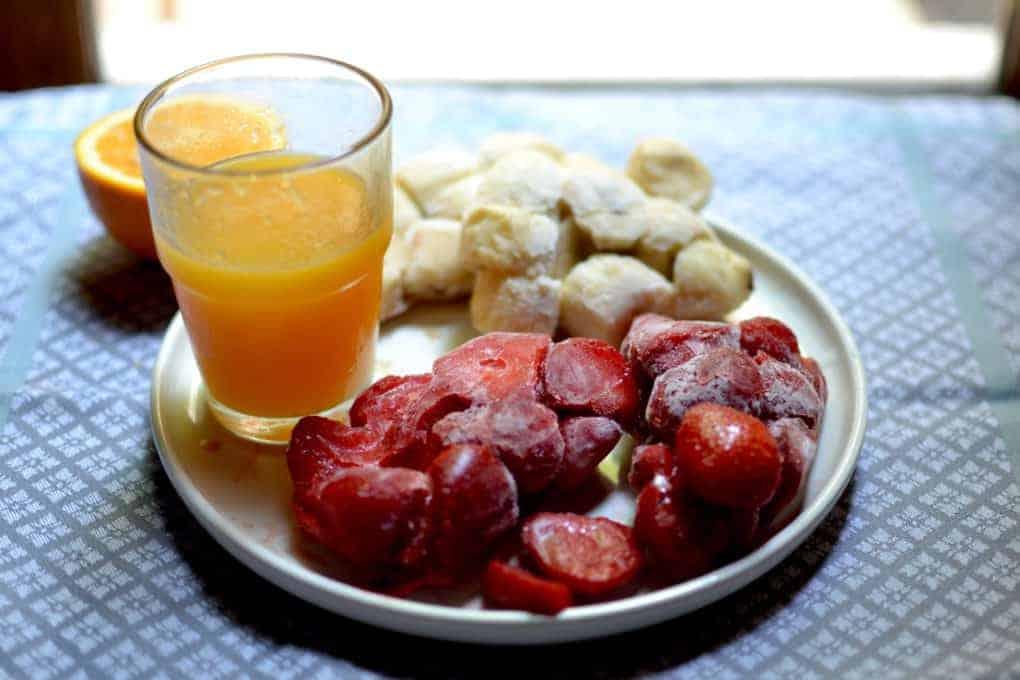 Ingredients for the fruit Sorbet - Strawberries, Banana and Orange Juice