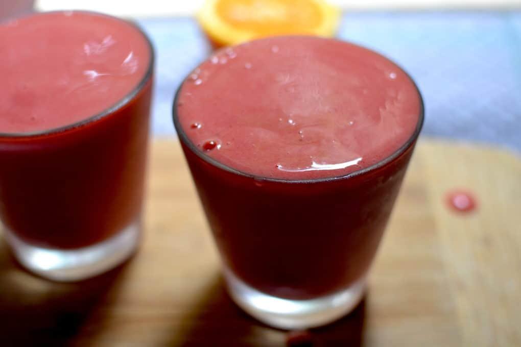 Close up of the fruit Sorbet - Strawberries, Banana and Orange Juice