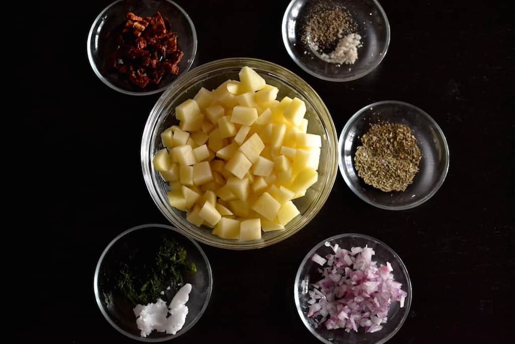 ingredients for hash browns potatoes.