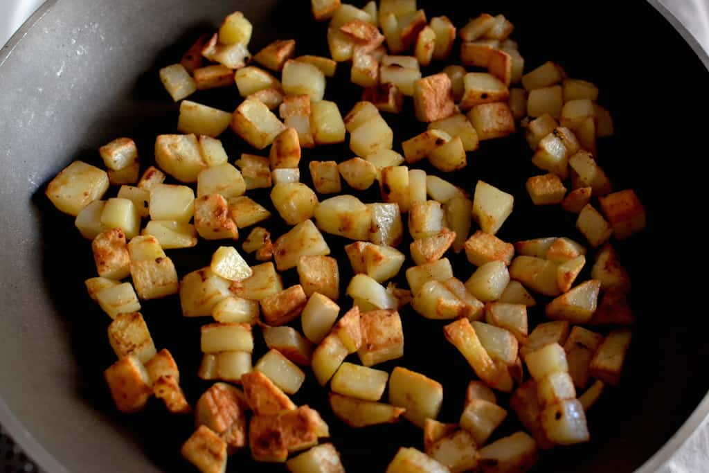Cubes of hash browns potatoes