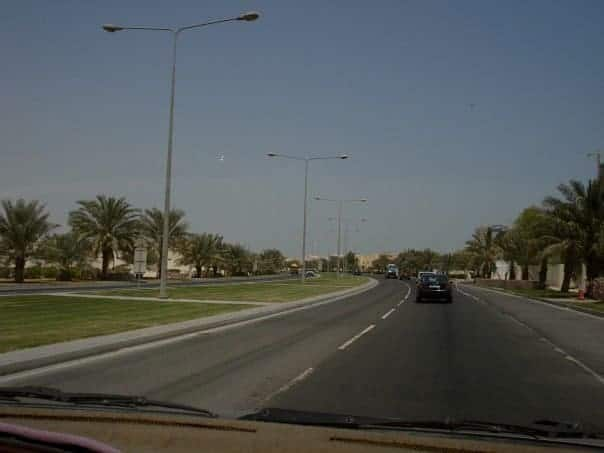 Doha Highway with palm trees