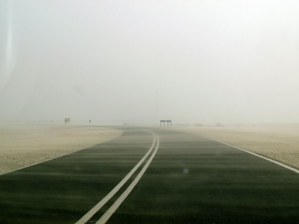 Way to sealine in Qatar, road with dust - Expat Life in Qatar