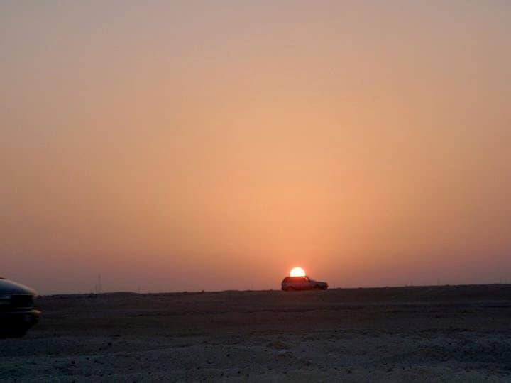 Sunset in desert of Qatar