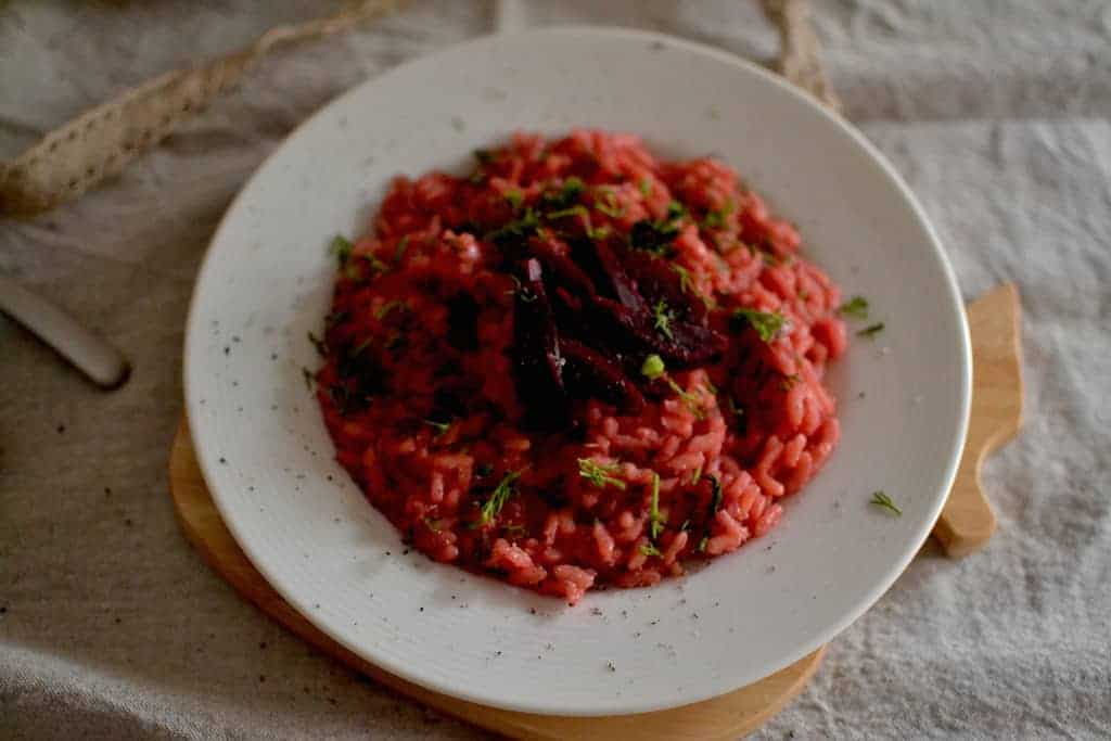 Risotto with beetroots and dill