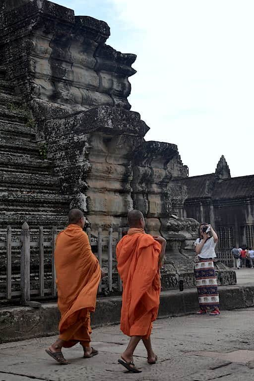 Monks in orange uniform