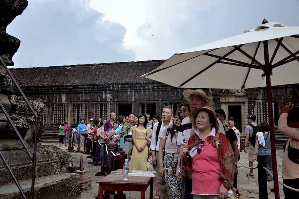 Tourists in Angkor Wat Temple