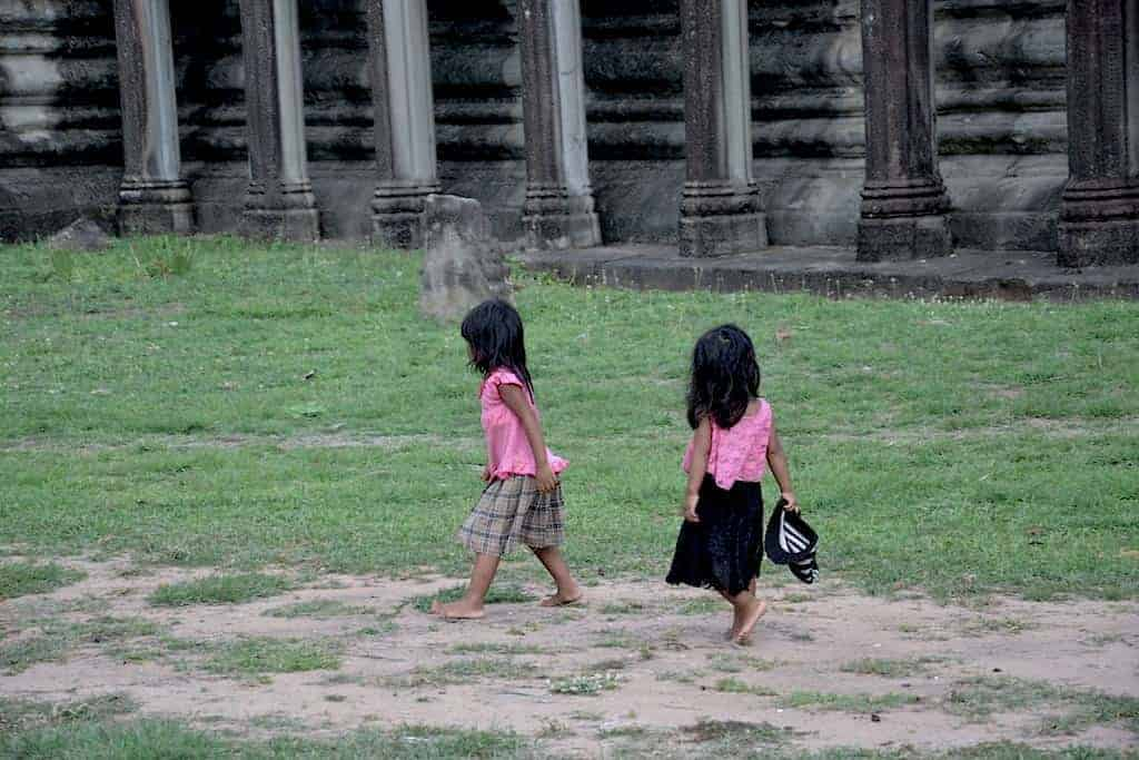 Small girls in Pink, Angkor Wat Temple