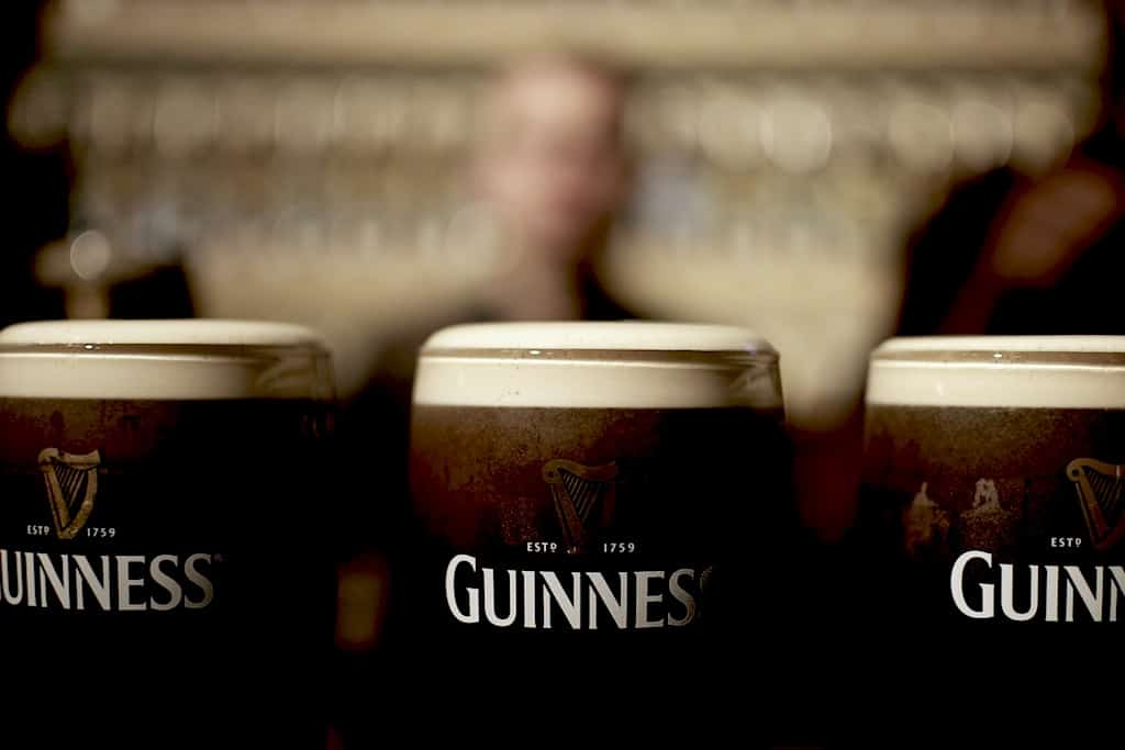 Close up of Glasses of guinness beer