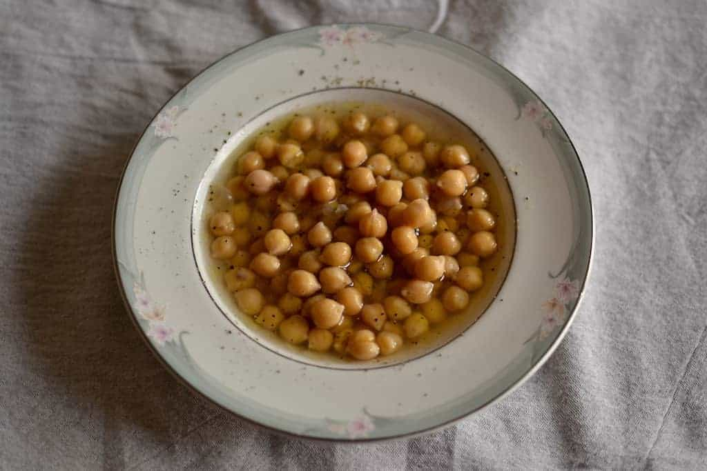 Chickpeas soup in a white plate
