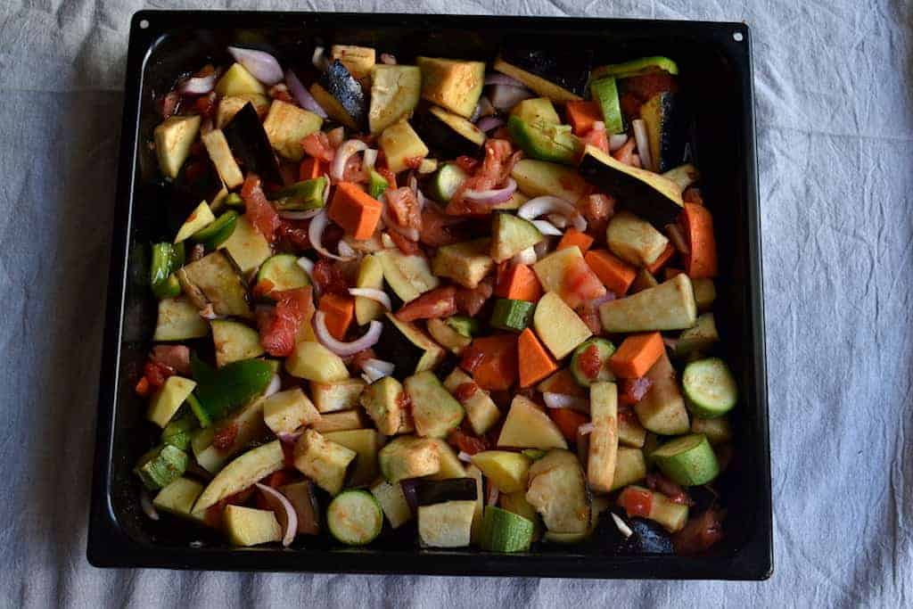 Baked Vegetables in a black pan