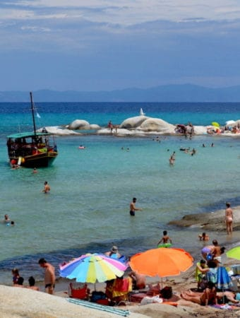 Halkidiki Beaches with a boat