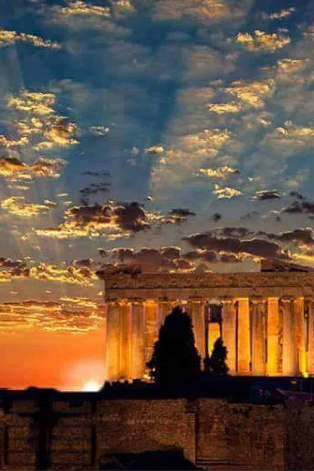 Acropolis in Athens during sunset