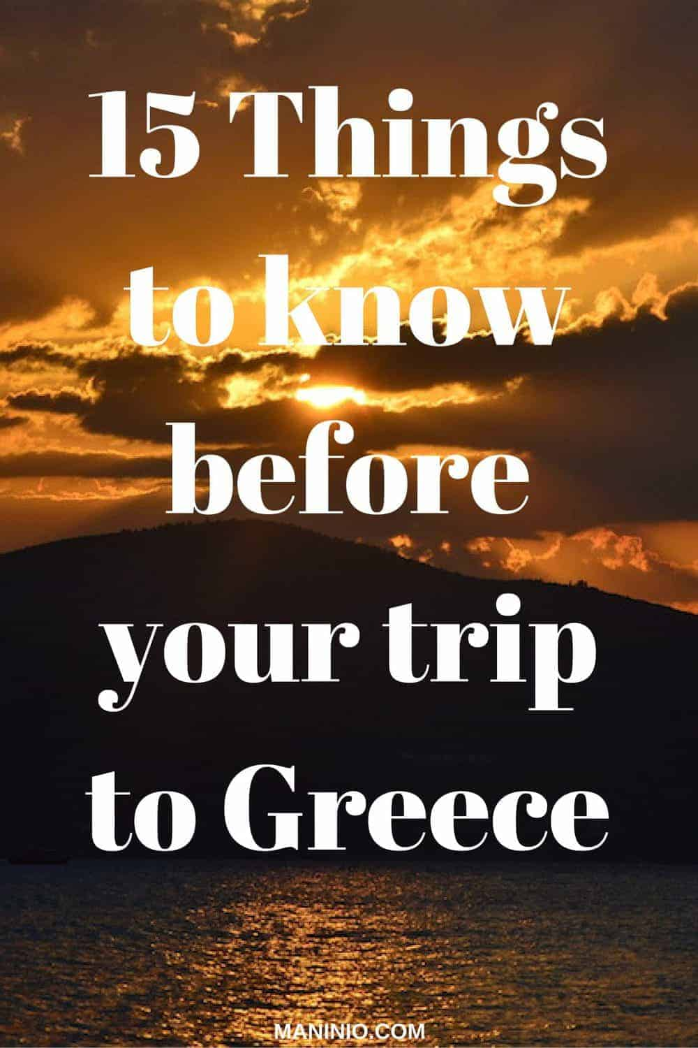 15 Things to know before your trip to Greece pinterest graphic