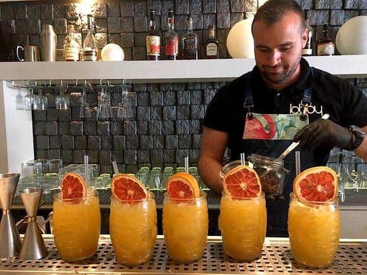 Orange juice in a bar