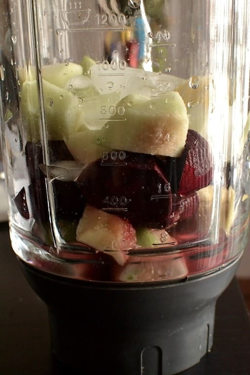 Beet smoothie fruits and beets in a blender