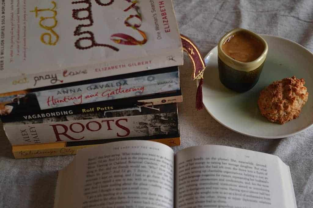 Wanderlust Books and coffee with cookies