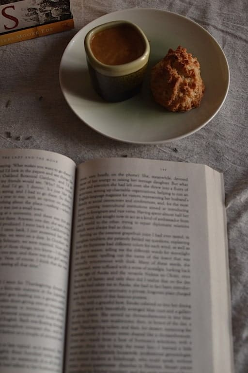 coffee, cookie and a book