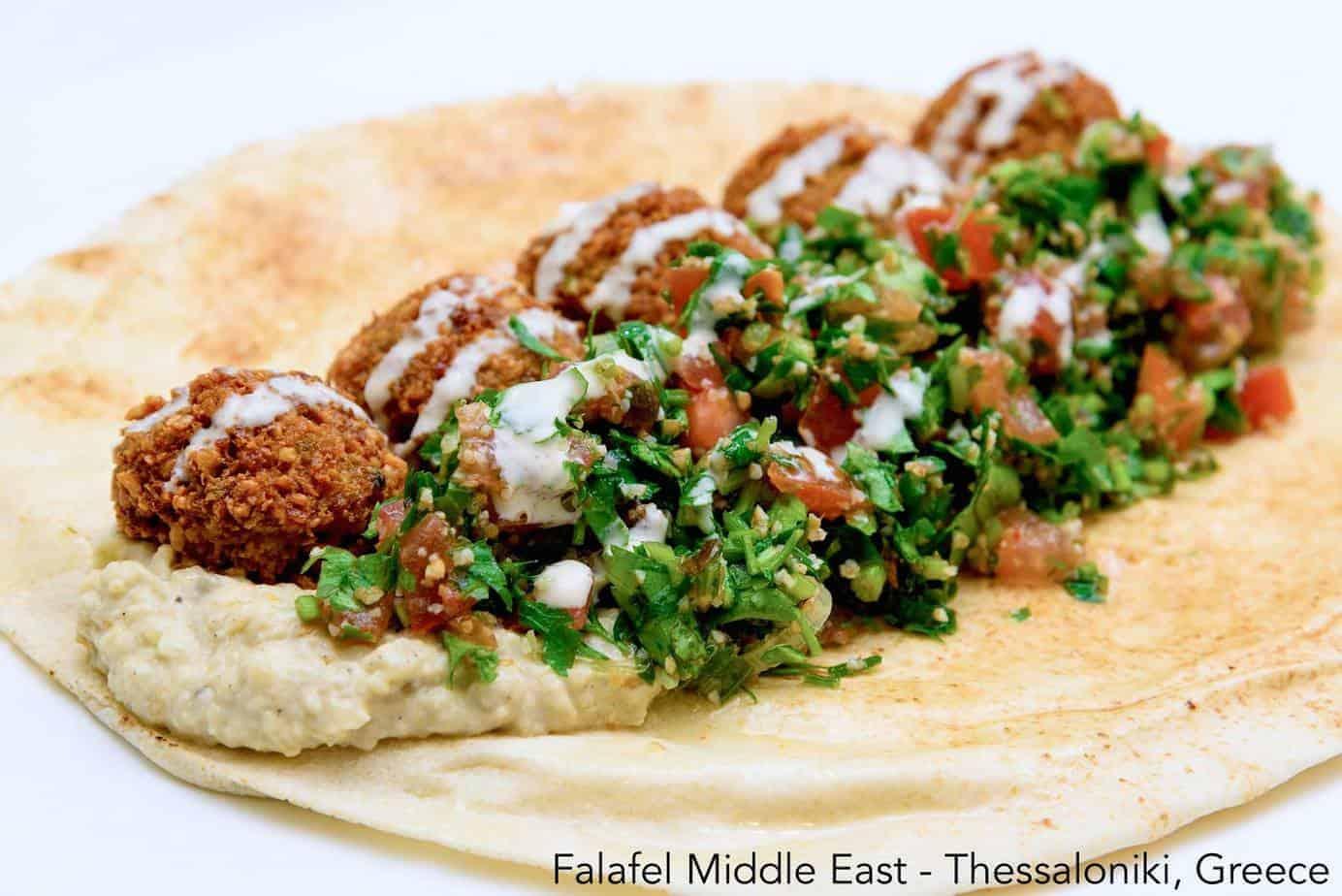 Falafel wrap with veggies and hummus