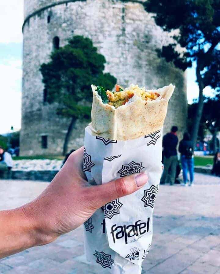 Vegan Giros Wrap in White tower in Thessaloniki