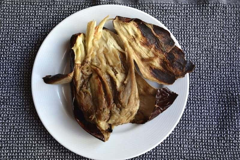 Peal the eggplant for the original Arabic Moutabal