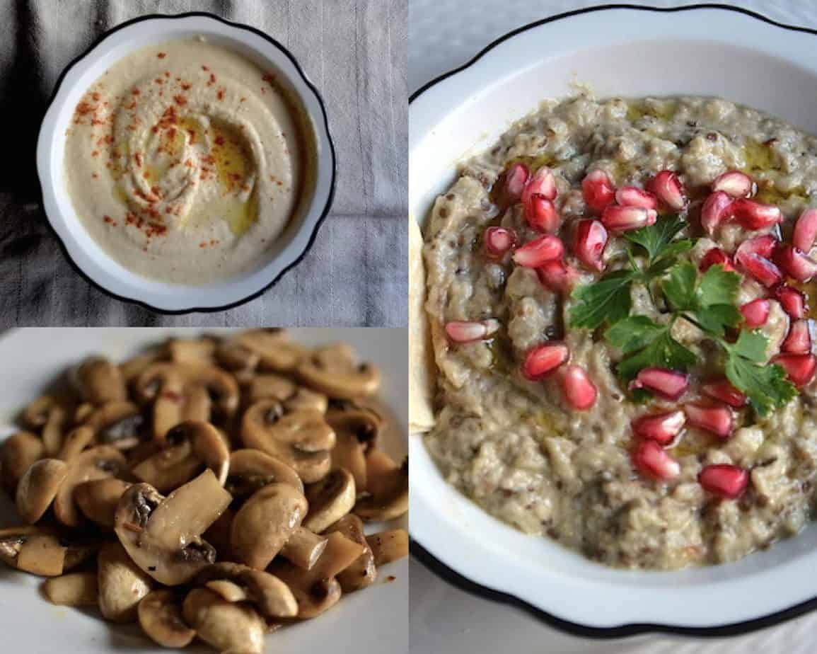 Babaghanoush, hummus and grilled mushrooms