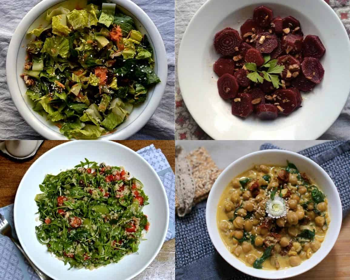 chickpeas, beetroots and salads