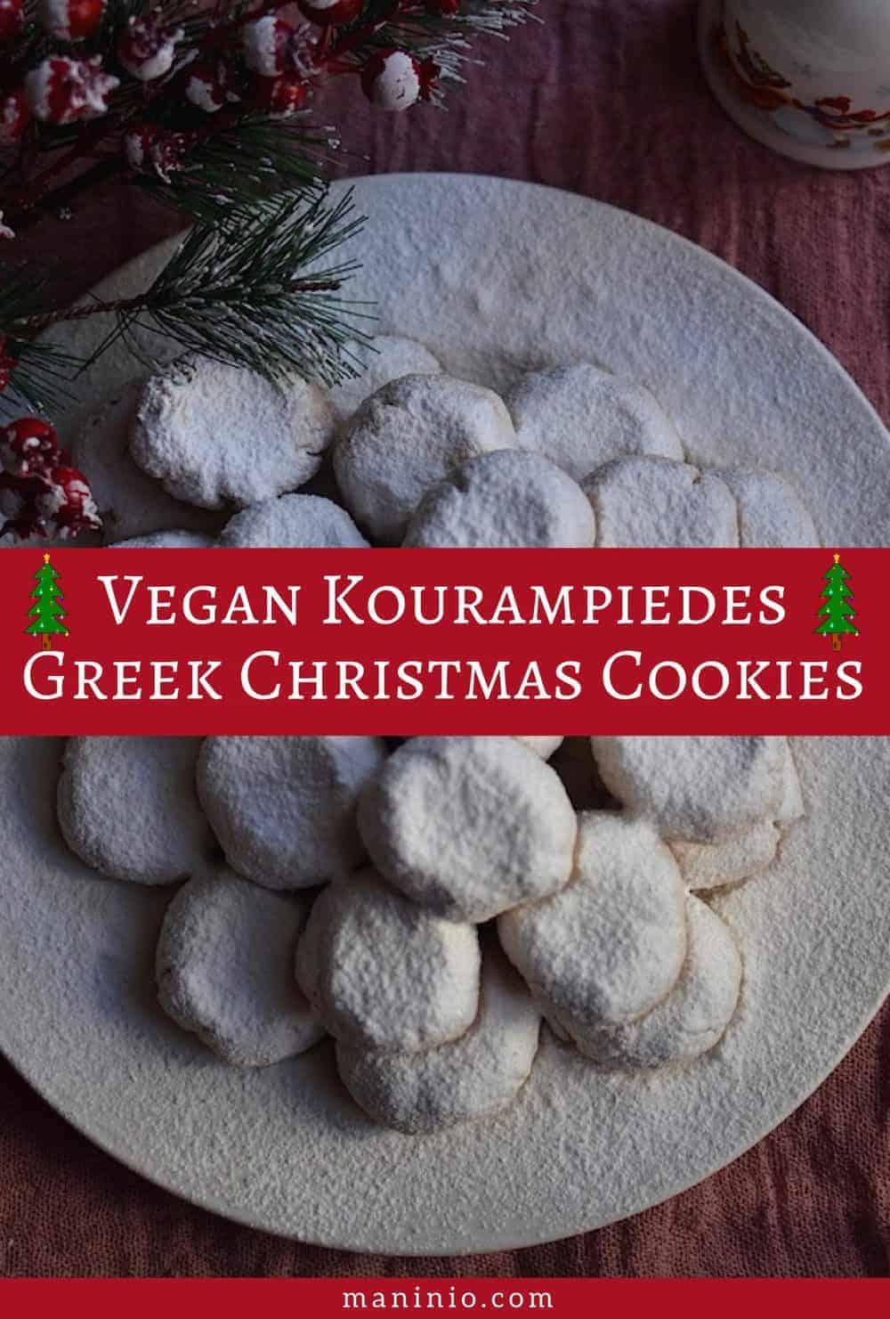 Vegan Kourampiedes | Greek Christmas Cookies. maninio.com #christmascookies #vegankourampiedes