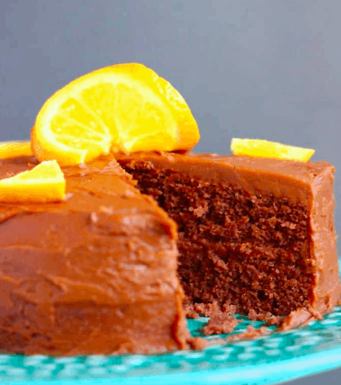 Vegan Chocolate cake with a lemon slice