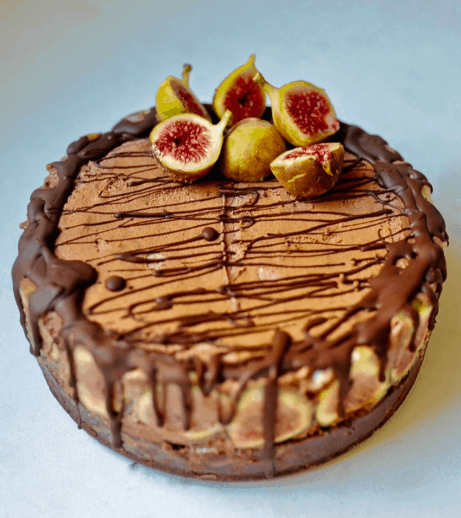 Luscious Vegan Chocolate Mousse cake for Christmas with figs