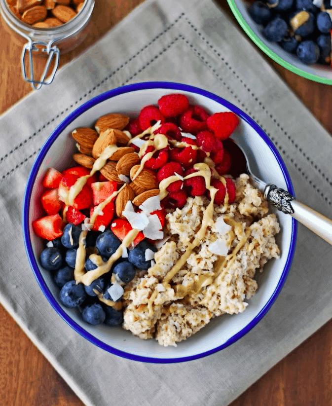 Breakfast Bowl with rasberries, blackberries and almonds