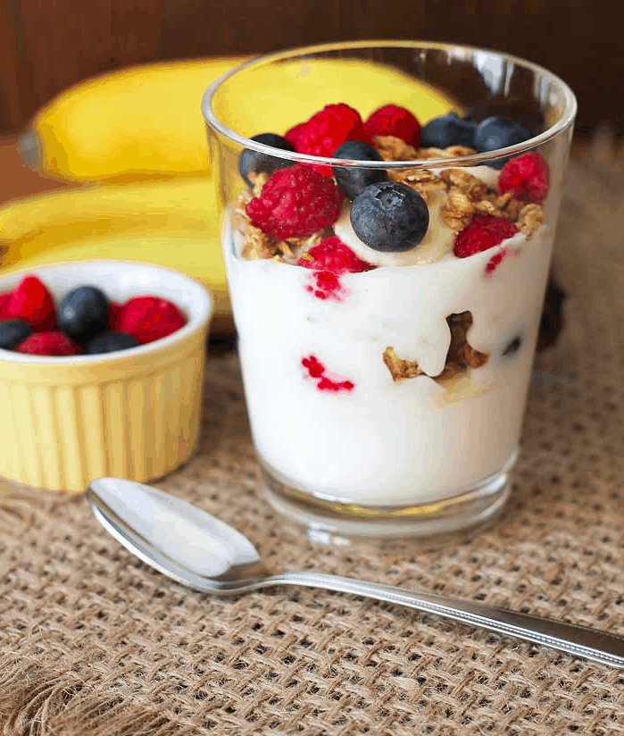 Berry banana granola parfaits