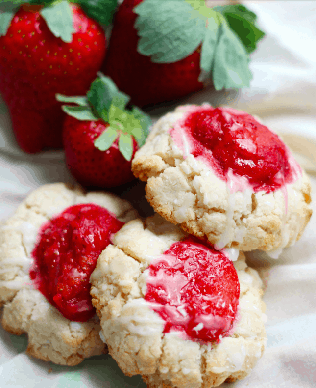 paleo strawberry coconut thumbprint cookies