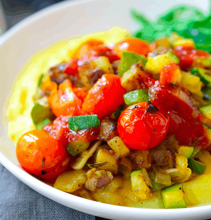 Breakfast polenta Bowl with tomatoes
