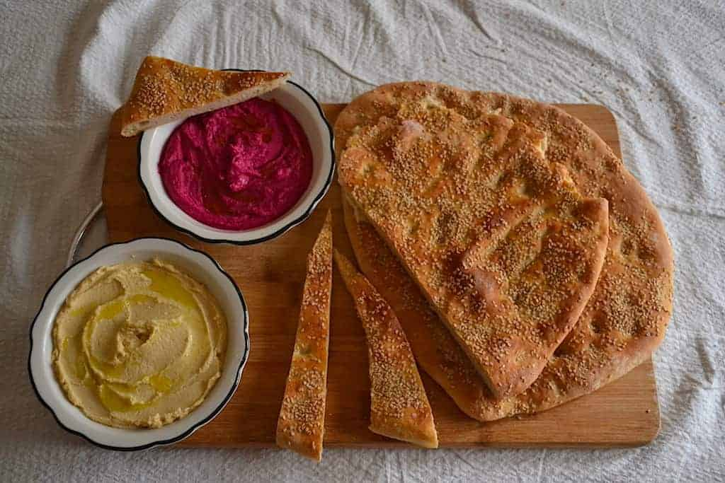 Arabic Hummus, Greek Lagana bread with star anise (Clean Monday) | Vegan