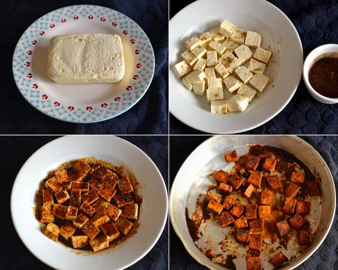 Hard Tofu Preparation Process Collage