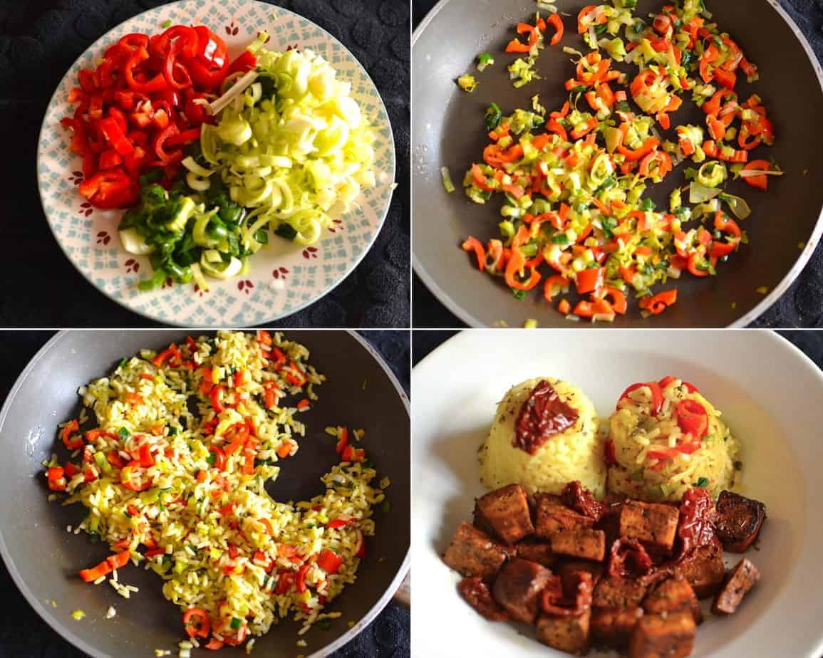 Red Pepper, Onions and Carrot Vegetable Rice Preparation Collage