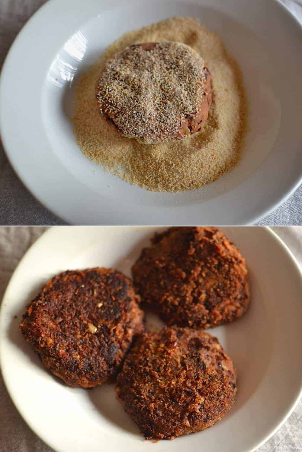 Fry the Patties - Mushroom Bean Vegan Burger with Sun-Dried Tomatoes. maninio.com