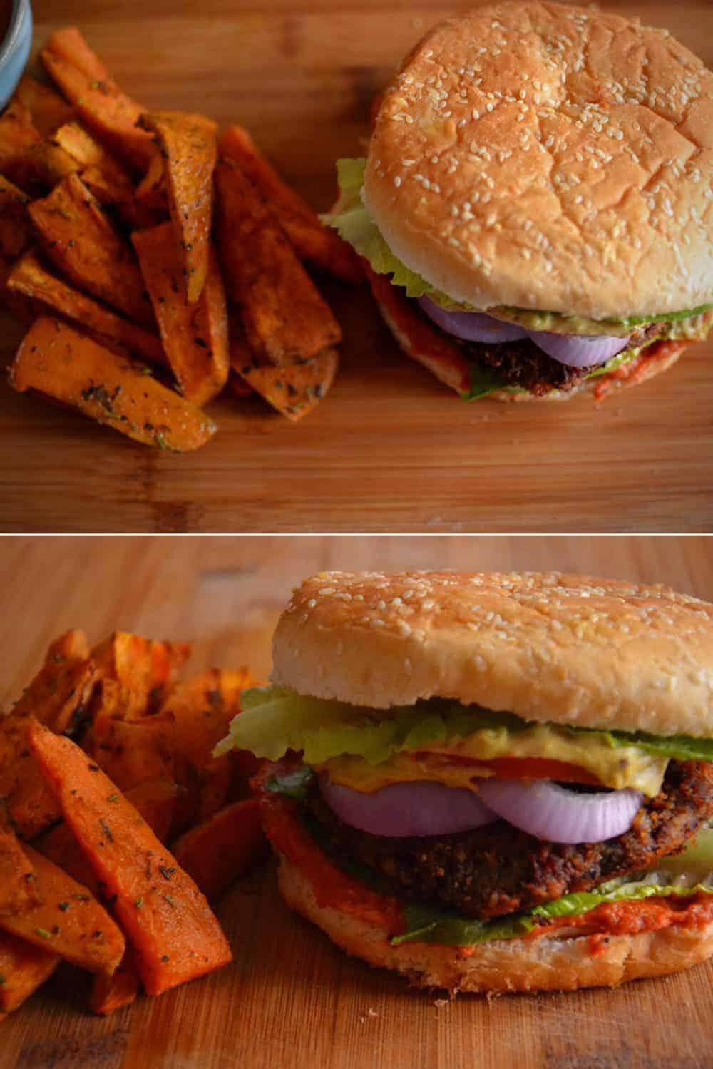 Σερβίρισμα - Αφράτο Vegan Burger Μανιταριών και Φασολιών | Νηστίσιμο. maninio.com