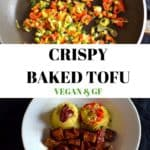 Crispy baked tofu collage