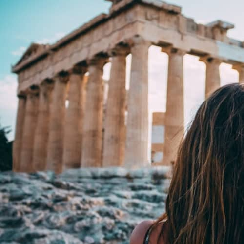Woman in Acropolis in Athens