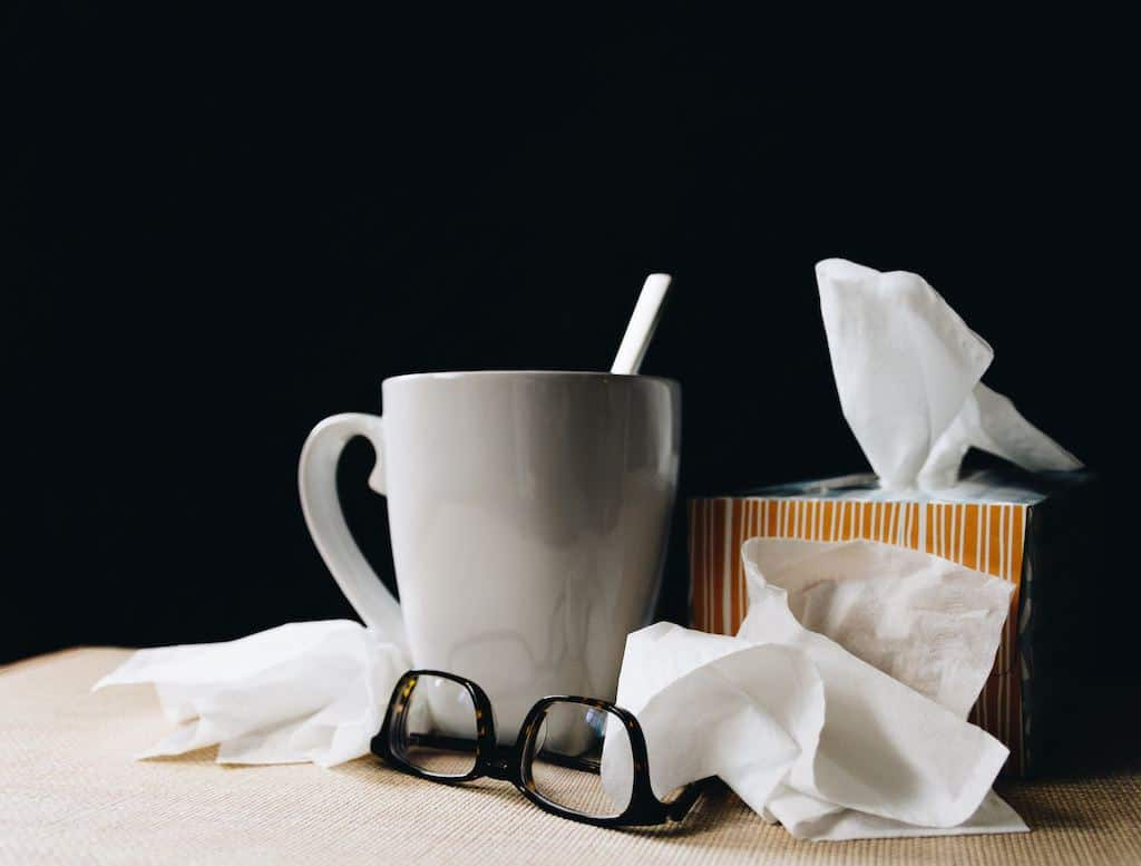 Allergic Rhinitis with Veganism - Glass of tea and flue tissues