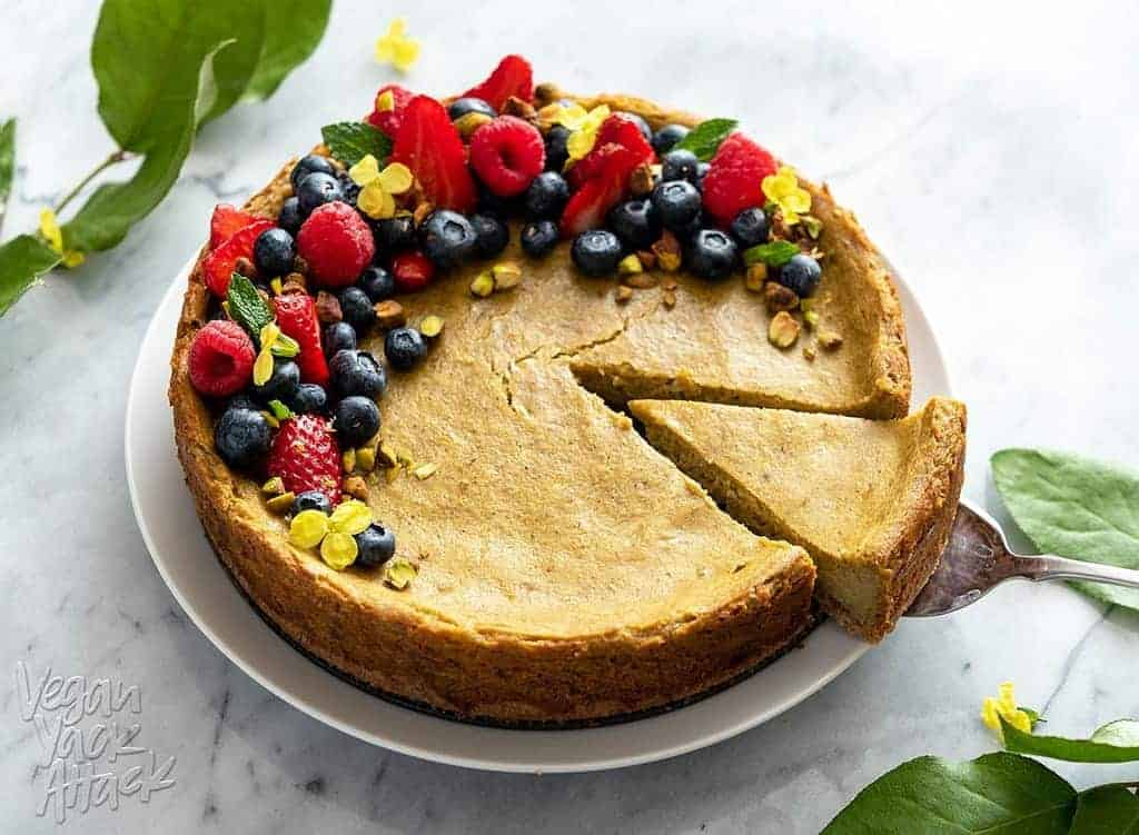 Cut a piece of Gluten-free Pistachio Cheesecake
