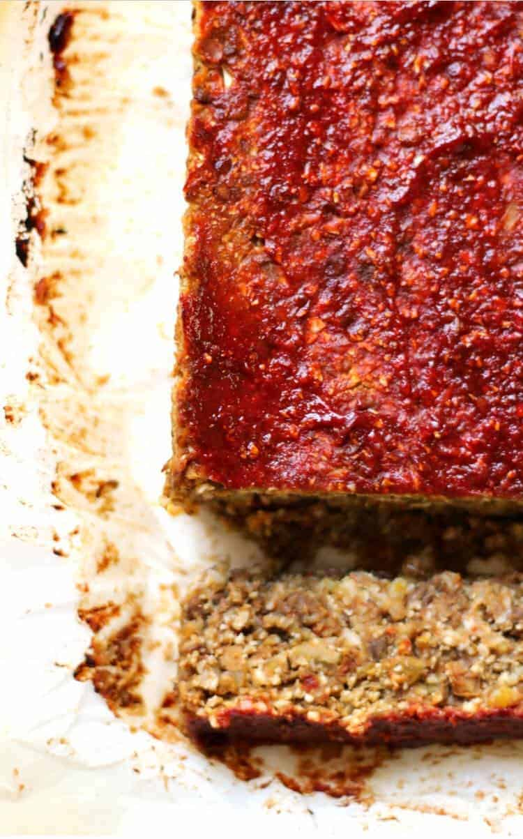 A piece of Vegan Cauliflower Lentil Loaf - - Vegan Easter Recipes