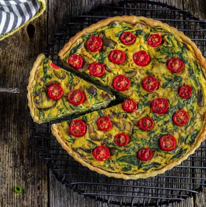 A piece of Vegan Quiche - - Vegan Easter Recipes