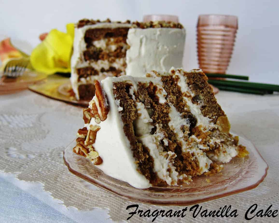 A piece of Vegan Hummingbird Cake in a white plate