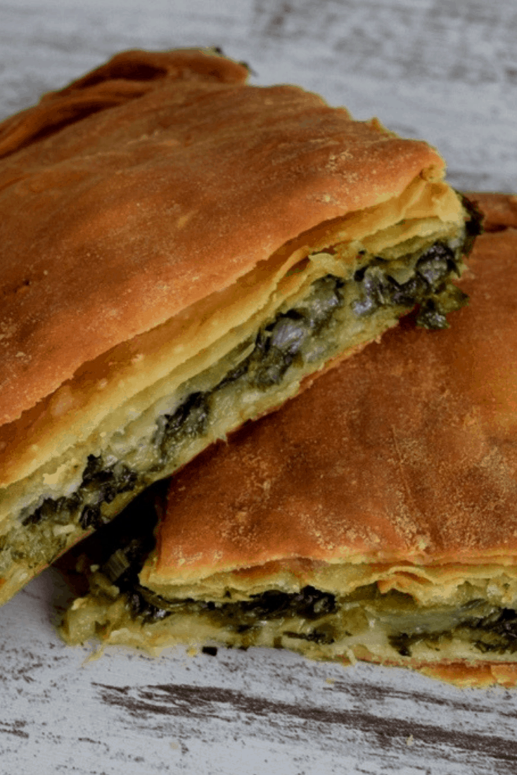 2 pieces of spinach pie - - Vegan Easter Recipes